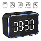 Goojodoq Digital Alarm Clock Radio with FM Radio, Bluetooth Speakers with Headphone Jack, Dual Alarms, 5 Level Brightness Dimmer, Adjustable Alarm Volume, Alarm Clock Lager Time Display for Bedroom