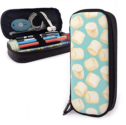 Astucci Marshmallows Blue Cute Pen Pencil Case Leather 8 X 3.5 X 1.5 Inch Pouch Bag Pencil Case with...