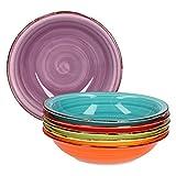 Service d'assiettes creuses 6 pièces Assiettes creuses unies colorées...