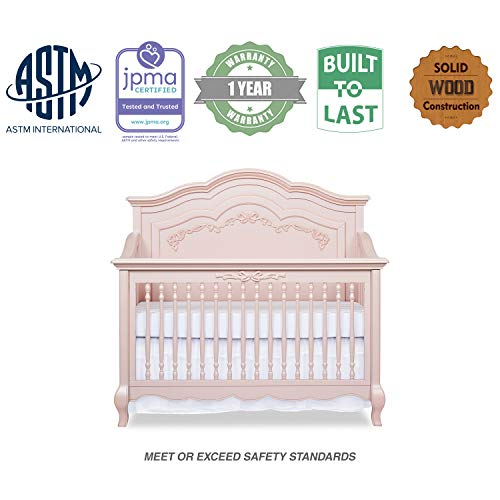 Product Image 6: Evolur Aurora 5-in-1 Convertible Crib, Blush Pink Pearl