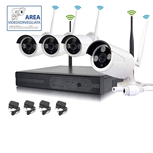 KIT VIDEOSORVEGLIANZA WIRELESS FULL HD IP 4 TELECAMERE 2 MPX WIFI DA REMOTO SENZA FILI
