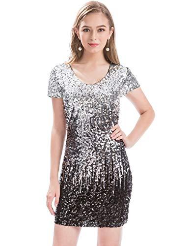MANER Women's Sequin Glitter Short Sleeve Dress Sexy V Neck Mini Party Club Bodycon Gowns(XXL,Silver/Gray/Black)