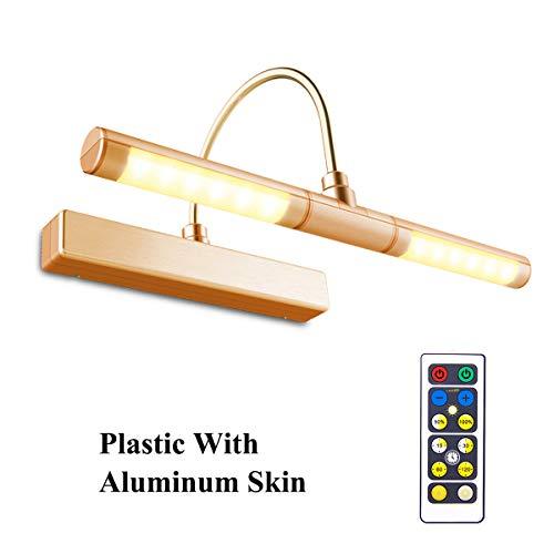 HONWELL LED Specchio Luce Senza fili a Batteria con Telecomando,Testa Girevole da 33 cm con 3...