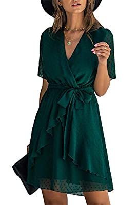 * Fashion Design - Women Short Dresses / Allover With Unique Swiss Dot / Feminine V-Neck End With A Inner Button / See Through Short Sleeve / Fully Lined / Inside Moderate Elastic Waist / Classic A-Line and High Waist Design / Asymmetrical Ruffle Hem...