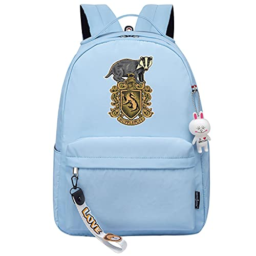 MMZ Mochila para niñas para la escuela Hufflepuff, mochila liviana para niños, estuche para lápices para la escuela secundaria media, estampado retro (azul)