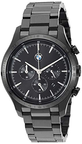 BMW - Orologio al quarzo da uomo con cinturino placcato in acciaio inossidabile, nero, 20 - BMW8003
