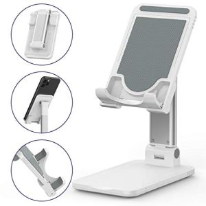 Tekpluze-Cell-Phone-Stand-for-DeskFoldable-Aluminum-Cell-Phone-HolderNon-Slip-Silicone-Base-with-Multi-Angle-and-Height-Adjustable-Compatible-with-All-SmartphoneiPhone-and-Tablet-4-12-White