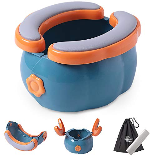 2-in-1 Go Potty for Travel, Portable Folding Compact Toilet Seat,Potty Training Toilet Chairs for Toddler Boys & Girls with Storage Bag and Potty Liners by BlueSnail (Blue+Orange)