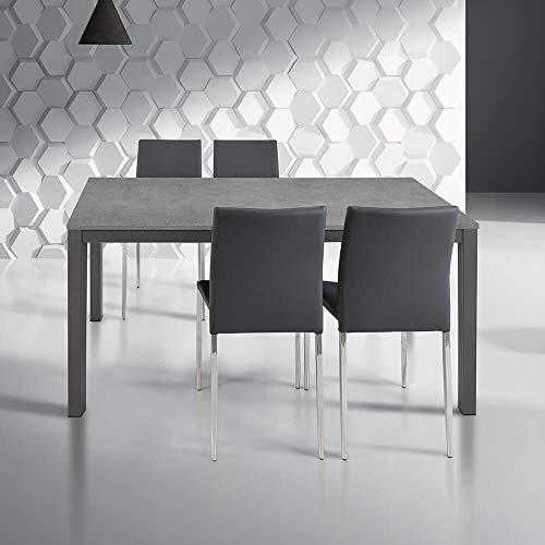 Milani Home s.r.l.s. Tavolo da Pranzo Moderno di Design ALLUNGABILE CM 70 X 110/160 Rovere Grigio per Sala da Pranzo