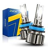 ZonCar H11/H9/H8 LED Bulbs 15000 Lumens, 400% Brightness Super Bright, 6500K Cool White, Fog Light, Quick Installation, Pack of 2