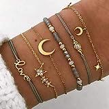 Yean Lot de 6 bracelets en perles et cristaux faits à la main pour femmes et filles