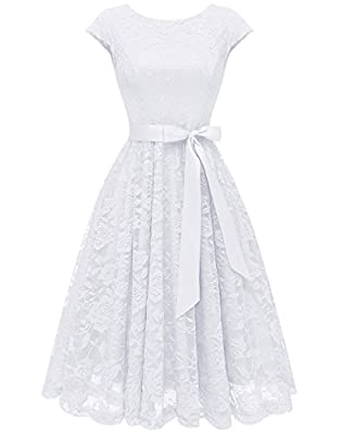 Warm Tips:The dress contains one removable belt,if you don't receive it,please contact us directly. Styles:Cap-sleeve, concealed zipper back closure, A-line swing skirt. Soft, high-quality lace overlays the dress show out your feminine and elegant te...