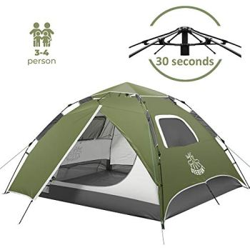 DEERFAMY Camping Tent, 4 Person Pop Up Tent for Camping, Waterproof Instant Tent, Dome Tent for Family, Green Tent