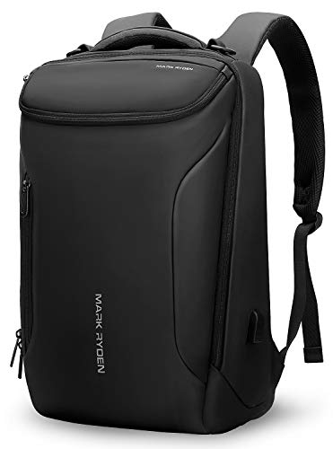 Water-proof Backpack Markryden large-capacity Modern rucksack Business Bags for men with USB Charging Port for School Travel hiking Work Pack Fits 17.3, 15.6 Inch Laptopop (Black (New))