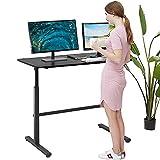 Adjustable Standing Desk, 47' Computer Desk Height Converter Desk Computer Workstation Large Desktop Stand Up Desk Ergotron Laptop Sit-Stand Desk Fit Dual Monitor for Home Office,Black