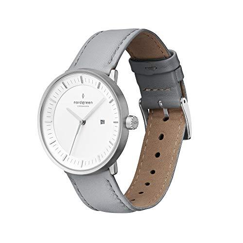 Nordgreen Philosopher skandinavische Uhr in Silber mit weißem Ziffernblatt und austauschbarem 36mm Leder Armband Raues Grau 10039