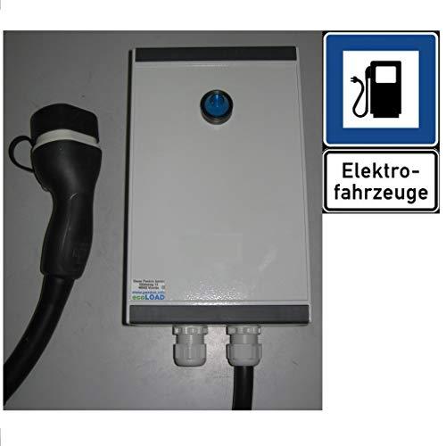 ecoLOAD Wallbox Tipo 2 - Cargador de Coche eléctrico, 11 kW, 5 Metros, Carcasa de Aluminio
