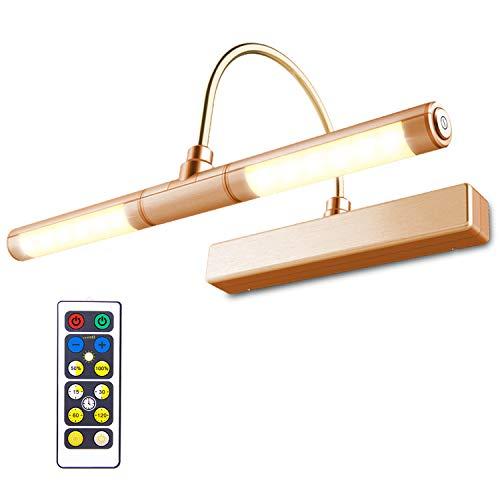HONWELL Bilderleuchte LED Verstellbare LED Wandleuchte 3 Beleuchtungsmodi AA Batterie Betrieben mit Fernbedienungen 180 ° Schwenkarm, Dimmbare Anzeigelampe mit Timer für Spiegelanstrich, Rose-Gold