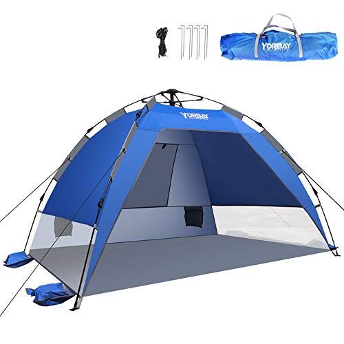 Yorbay Automatik-Strandzelt mit UV-Schutz 50+, mit Heringen, Sandtasche und Tragetasche, für 2-3 Personen, schnell aufbauend für Familie, Strand, Garten, Camping, Anglen, Outdoors (Mehrweg)