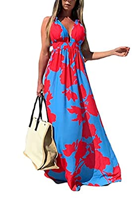 Material: 95% Polyester, 5% Spandex ,Very soft and skin-friendly.Lightweight, easy to put on and take off. Package:1 x Summer bohemian Dress. Feature: Deep V neck,Sleeveless,Spaghetti Strap,Vibrant floral print,Beach Maxi Dress,Very flattering dress,...