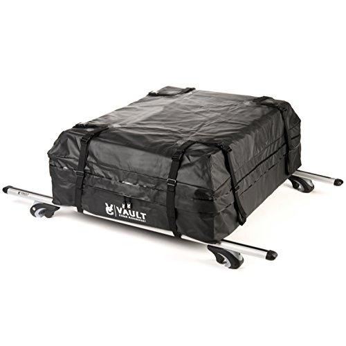 Faltbare Dachbox Schwarz und Wasserdicht Dachbox Auto von Vault Cargo Management - 425 Liter Kapazität - Gepäckbox Dach - Perfekte dach boxen für das Reisen mit Ausrüstung - Haltbarer Jetbag.