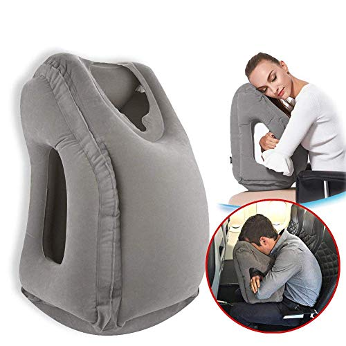Povinmos Portable Airplanes Camping Tent Inflatable Pillow Accessories, Premium Comfortable Travel Pillow for Body Head Neck Rest - Gray