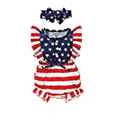 4th of July Baby Girl Outfits American Star Stripe Flag Patriotic Sleeveless Romper One Romper for...