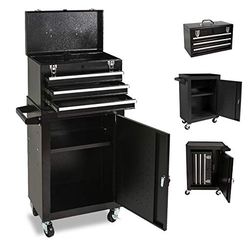 Product Image 1: 3-Drawer Tool Chest Tool box, High Capacity Rolling Tool box Big Tool Storage Tool Cabinet Large Capacity Toolbox with 4 Wheels and Lockable Drawers for Warehouse 2021 (black)