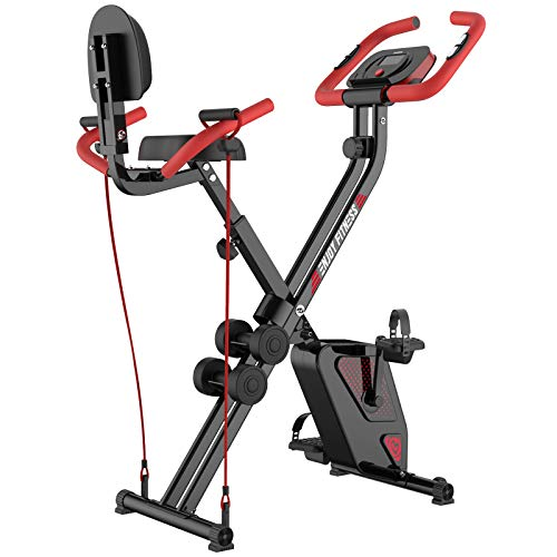 pooboo Folding Exercise Bike Upright Convertible...