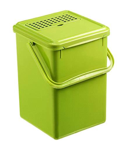 Rotho Bio Komposteimer 9l mit Aktivkohlefilter im Deckel, Kunststoff (PP) BPA-frei, grün, 9l (23,0 x 22,5 x 27,5 cm)