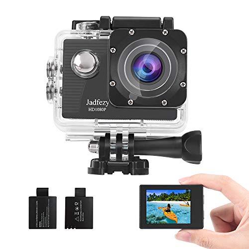 Jadfezy Action Camera 1080P Impermeabile Fotocamera Subacquea 40M con EIS Due 900mAh Batterie Ricaricabili 140 Gradi Grandangolo e Kit Accessori