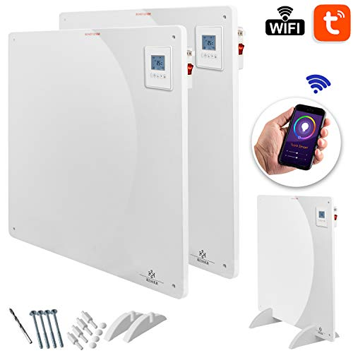 KESSER® 2x Infrarotheizung 550 Watt mit APP WiFi Funktionen ✓ LCD-Display Digital ✓ Timer ✓ Wandheizung ✓ Infrarot ✓ Heizung ✓ Heizkörper   Heizpaneel   Inkl.Standfüßen NEU  