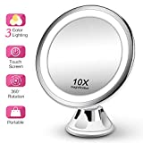 Makeup Mirror 10X Magnifying Vanity Mirror - 3 Color Modes & 36 LED Cosmetic Mirror, High Definition, Touch Control, 360Rotation & Powerful Suction Cup for Bathroom Shower Travel
