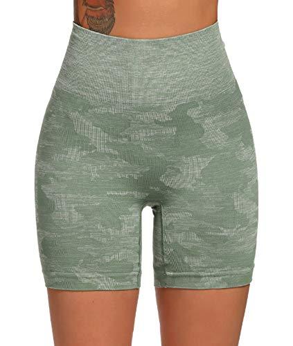 FITTOO Leggings Cortos Mujer Sin Costura Mallas de Yoga Alta Cintura Elásticos #3 Verte XL