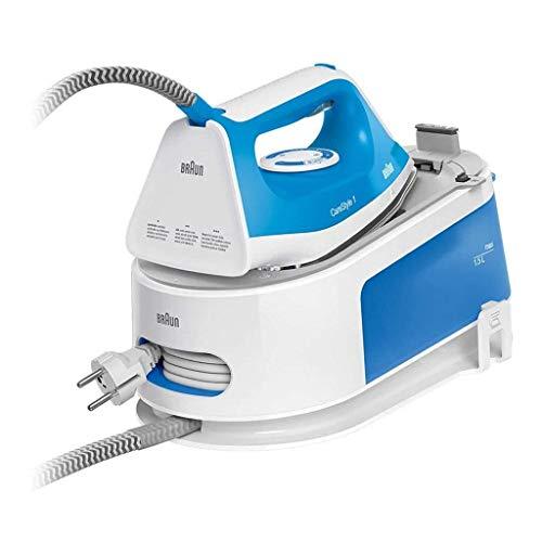 Braun Carestyle 1 IS1012BL, Ferro generatore di Vapore, 2400Watt, Capacit 1,5L, 5,5 Bar, Getto di Vapore 340g/min, Sistema Anticalcare con Segnale Acustico, Bianco/Blu