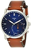 Fossil Men Commuter Stainless Steel and Leather Hybrid Smartwatch, Color: Silver-Tone, Brown (Model:...