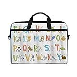 FOURFOOL 15-15.6 Inch Bolsa de Ordenador,Alphabet Kids ABC Herramienta de Aprendizaje Educativo para niños,Nuevo Patrón de impresión portátil Hombro Bolsa maletín portátil de Ordenador portátil Caso