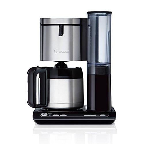 Bosch TKA8653 Styline Filterkaffeemaschine, Thermokanne, autom. Anpassung Brühzeit, abnehmbarer Wassertank (1 L), 1100 W, schwarz