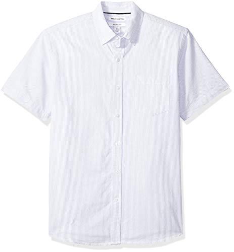 Amazon Essentials Men's Regular-Fit Short-Sleeve Pocket Oxford Shirt, Blue Stripe, XX-Large