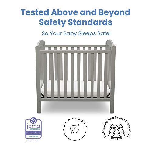 Product Image 3: Delta Children Emery Mini Convertible Baby Crib with 2.75-inch Mattress, Grey