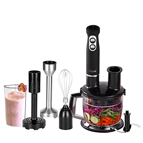 Caynel 6-in-1 500W Immersion Hand Blender Set, 8 Variable Speeds with Turbo Setting, includes 1500ml Chopper, Whisk, Potato Masher, Beaker, Multi Food Processor and Hand Mixer Sets for Smoothies, Baby Food, Soup, Vegetables and Fruits, BPA free