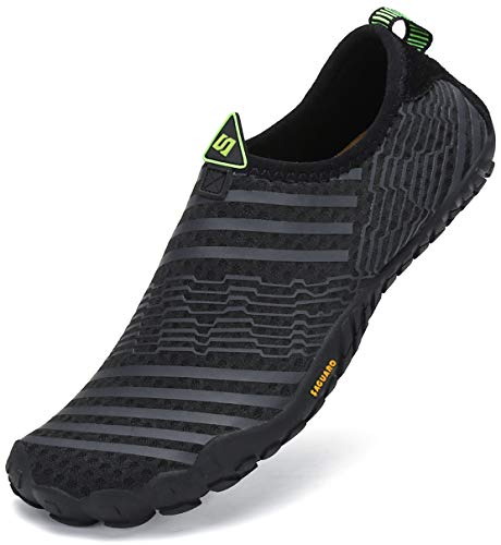 SAGUARO Barfussschuhe Herren Damen Sommer Atmungsaktiv Badeschuhe rutschfest Aquaschuhe Outdoor Trekking Sprort Schuhe Slip On Schwarz 39