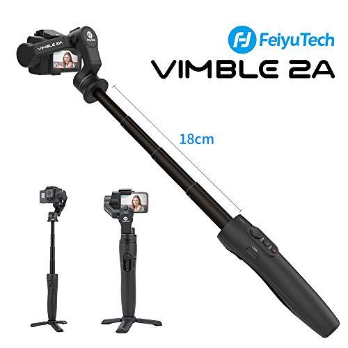 Feiyu Vimble 2A Gimbal Stabilizzatore con 18CM Asta Allungabile, Action Camera Gimbal per Gopro Hero 5/6/7, YI 4K, SJ 6 LEGEND, RICCA, Controllo WiFi, Modalità Orizzontale/Verticale,Video Stabile