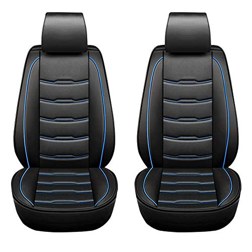 ASSIALL Set coprisedili per auto New Gen Universale in ecopelle 5D Full Surround Protezioni per sedili resistenti all'usura impermeabili Interni auto (nero con cuciture blu, coppia anteriore)