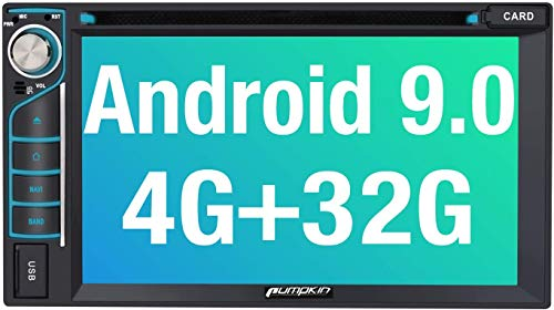 PUMPKIN Android 9.0 Car Stereo Double Din DVD Player 4GB RAM with GPS, WiFi, 1s Fastboot, Support Android Auto, Backup Camera, USB, SD, 6.2 Inch Touch Screen