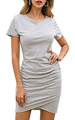 Soft Material - Polyester + Cotton. Soft stretch material, Flattering ruched sides, Simple design, free and comfortable. Unique Design - Short Sleeve/Sleeveless, O Neck, Ruched Design, Irregular Hem, Slim Fit, Casual T Shirt Dress, Above Knee Mini Dr...