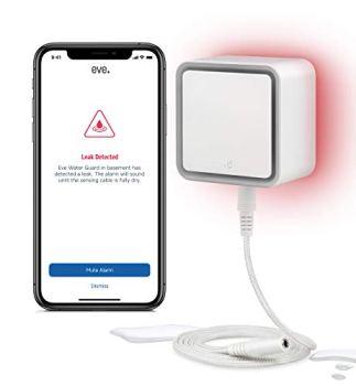 Eve Water Guard - Détecteur de Fuite d'eau connecté avec câble de détection de 2 m (Extensible), sirène de 100 DB et alertes de Fuite sur iPhone, iPad, Apple Watch (Apple HomeKit)