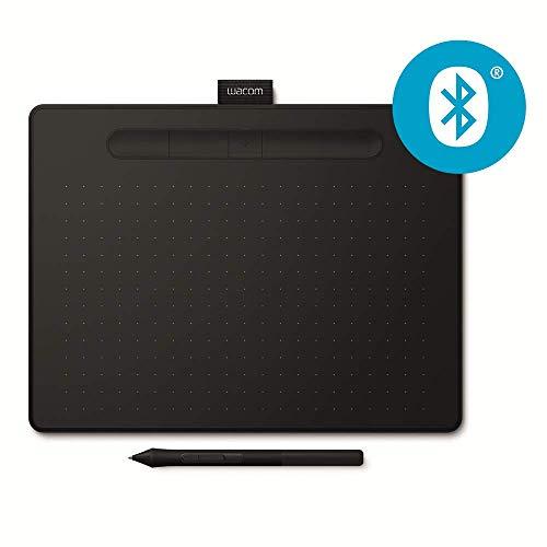 Tablette à stylet Wacom Intuos S M Bluetooth, Noir - Tablette graphique sans fil pour la peinture, le dessin et la retouche photo avec 3 logiciels créatifs gratuits*, compatible Windows & Mac