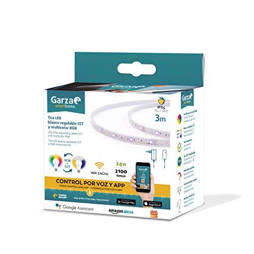 Garza Smarthome-Tira LED WiFi CCT + RGB 24w IP65 de 3 Metros Inteligente y programable, Cambio de Intensidad + Tonalidad + Color, Control por Voz y App, Alexa, iOS, Google, Android, 24 W, Blanco