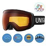 Unigear Skido X2 Ski Goggles, Toric Dual Lens Snowboard Snow Goggles for Kids, Men and Women - OTG & 100% UV Protection (Orange Lens (VLT 49.7%), Kids)